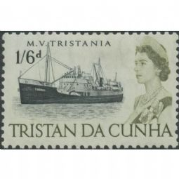 Tristan da Cunha 1965 SG81 1s.6d. Tristania (crayfish trawler), black and yellow-olive